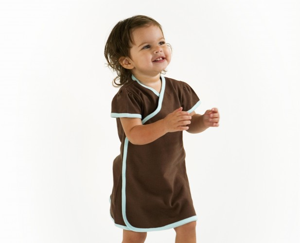 Baby clothing organic cotton kimono wrap dress