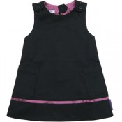 Licorice Twill Dress with Berry Trim